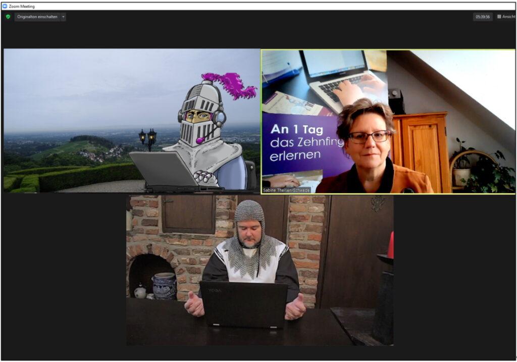 Collage Tastschreiben lernen in der Video-Konferenz